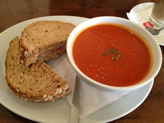 a picture of soup and a sandwich