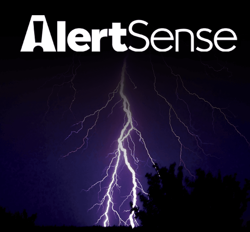 Photo of lighting and AlertSense Logo