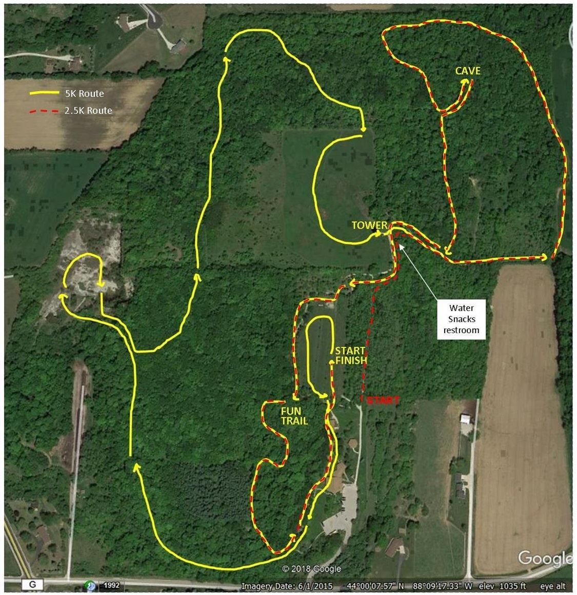Arial photograph of Ledge View Nature Center showing the routes for the 2020 caveman run
