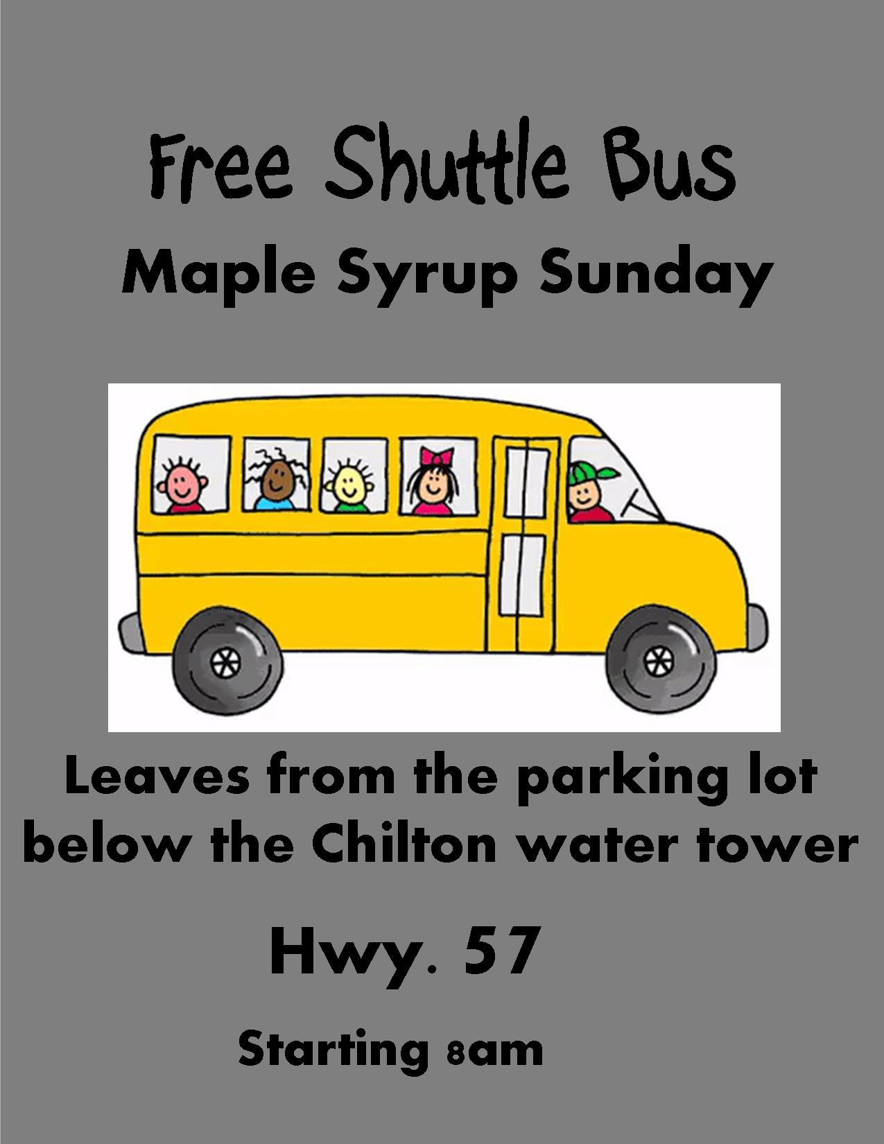 free shuttle poster for Maple Syrup Sunday showing a bus with children on it.