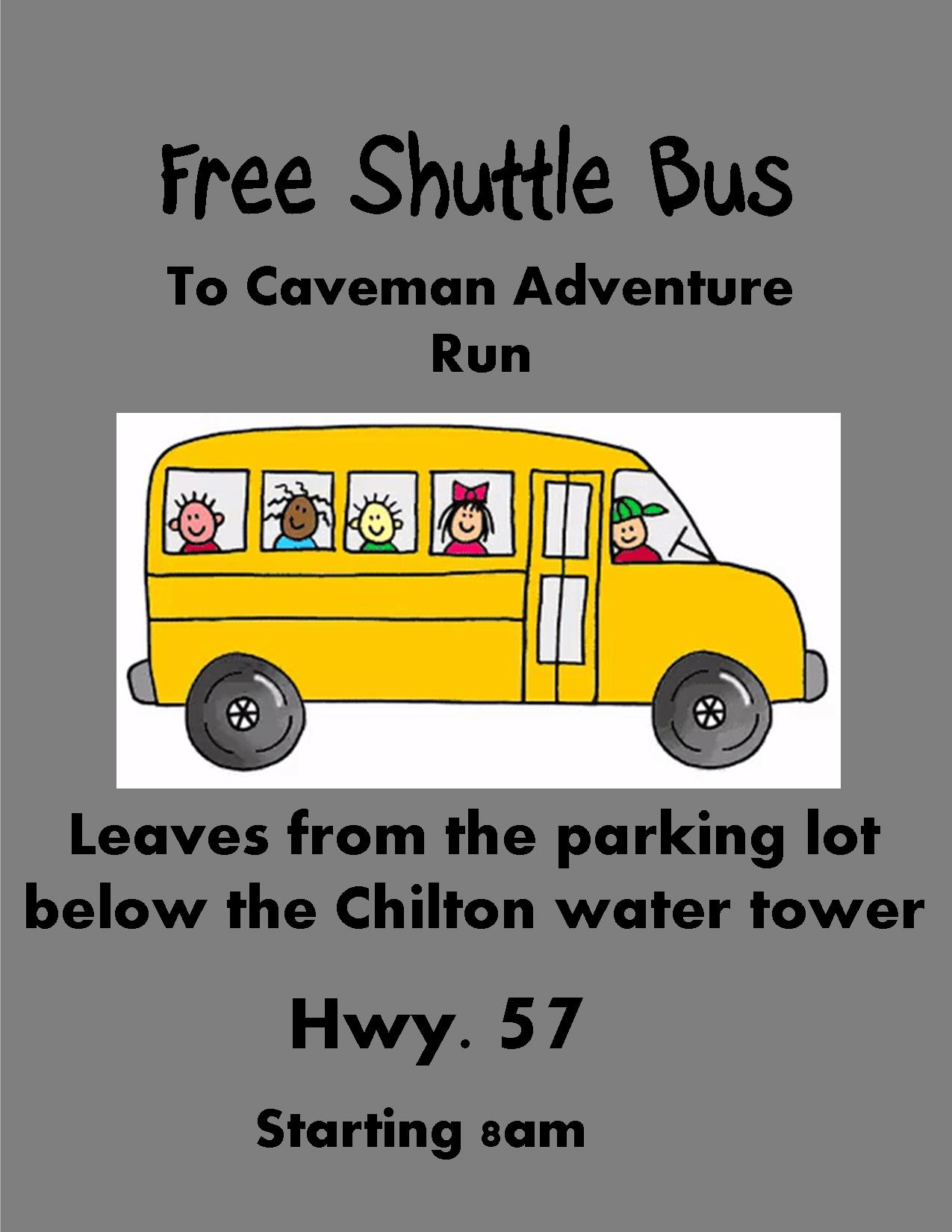 free shuttle bus poster for caveman adventure run showing a picture of a bus with kids on it.